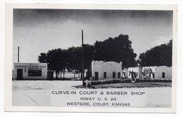 USA--Kansas--COLBY--Corve-in Court  & Barber Shop (coiffeur,barbier)--carte Publicitaire ........pas Très Courante - Etats-Unis