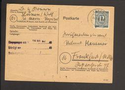 Alli.Bes.12 Pfg.Ziffer Auf Postkarte Von 1946 Aus Lünen - American,British And Russian Zone
