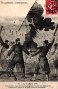 CPA DOCUMENTS HISTORIQUES - LE 18 MARS 1871 - REPRODUCTION D'UNE LITHOGRAPHIE POPULAIRE DESSINEE PAR GUILLARDS FILS - Storia
