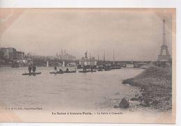 Cpa.75.La Seine à Travers Paris.La Seine à Grenelle.animé Personnages Barques - Distrito: 15