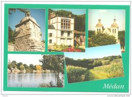 Carte CPSM Multivues De Médan( Château, Emile Zola , Eglise, La Seine) - Medan