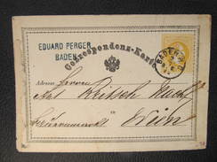 GANZSACHE BADEN - WIEN 1872 Eduard Perger Korrespondenzkarte  //  D*27434 - Briefe U. Dokumente