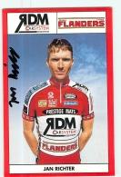 Jan RICHTER  , Autographe Manuscrit, Dédicace . Cyclisme. 2 Scans. Flanders - Ciclismo