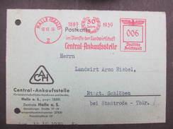 KARTE Halle 1939 Frankotype Postfreistempel  //  D*27445 - Allemagne