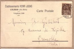 HAUT RHIN - COLMAR - CARTE POSTALE DE TYPE COMMERCIAL ETABLISSEMENTS HENRI JUDAS A MR JH. GILLIBERT , GRENOBLE , ISERE - Colmar