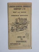 1911 Map And Guide To Omnibus - London Général Compagny LTD - Dewar's Whisky, Dunlop, Nestlé - Mapas