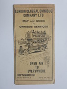 1911 Map And Guide To Omnibus - London Général Compagny LTD - Dewar's Whisky, Dunlop, Nestlé - Maps