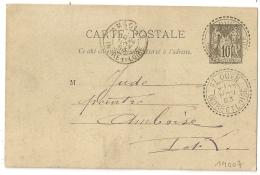 Facteur Boitier ST OUEN Indre Et Loire Pour AMBOISE Sur ENTIER 10C SAGE. 1893. - 1877-1920: Période Semi Moderne