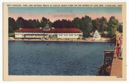 Cleveland Ohio OH, Euclid Bathing Beach, Cascade Pool Lake Erie C1940s Vintage Old Postcard M8517 - Cleveland
