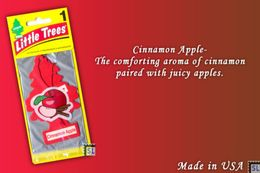 Cinnamon Apple, LITTLE TREES CAR-FRESHNERS, Carded Air Fresheners, Made In USA, NEW - Accessories
