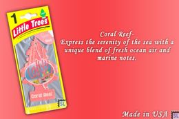 Coral Reef, LITTLE TREES CAR-FRESHNERS, Carded Air Fresheners, Made In USA, NEW - Accessories