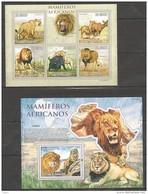 V473 2010 S.TOME E PRINCIPE MAMIFEROS AFRICANOS WILD ANIMALS LIONS 1KB+1BL MNH - Félins