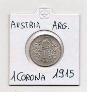 Austria - 1915 - 1 Corona - Francesco Giuseppe - Argento - (MW447) - Austria