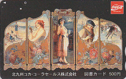 Carte Prépayée Japon - COCA COLA  / Triptyque Femme - Poster & Girl Japan Prepaid Tosho Card / Patinage - 4134 - Japan