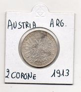 Austria - 1913 - 2 Corone - Francesco Giuseppe - Argento - (MW450) - Austria
