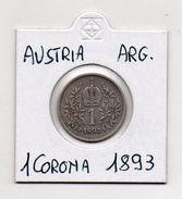 Austria - 1893 - 1 Corona - Francesco Giuseppe - Argento - (MW451) - Austria