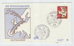 Germany BRD VOGELFLUGLINIE BIRDS FDC 1963 - Vogels