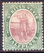 ST KITTS_NEVIS 1903 SG #1 ½d MH Wmk Crown CA - St.Christopher-Nevis-Anguilla (...-1980)