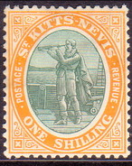 ST KITTS_NEVIS 1903 SG #7 1sh MH Part Gum Wmk Crown CA - St.Christopher-Nevis-Anguilla (...-1980)