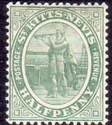 ST KITTS_NEVIS 1907 SG #12 ½d MH Grey-green Wmk Mult.Crown CA - St.Christopher-Nevis-Anguilla (...-1980)
