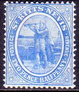 ST KITTS_NEVIS 1907 SG #17 2½d MH Bright Blue Wmk Mult.Crown CA - St.Christopher-Nevis-Anguilla (...-1980)