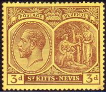 ST KITTS_NEVIS 1927 SG #45a 3d Purple On Yellow MLH Wmk Mult. Script CA - St.Christopher-Nevis-Anguilla (...-1980)