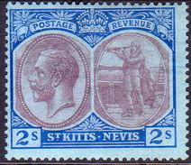 ST KITTS_NEVIS 1922 SG #47 2sh MH Wmk Mult. Script CA CV £14 - St.Christopher-Nevis-Anguilla (...-1980)