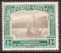 ST KITTS_NEVIS 1923 SG #48 ½d MH Tercentenary Of Colony Tiny Thin In The Centre - St.Christopher-Nevis-Anguilla (...-1980)