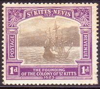 ST KITTS_NEVIS 1923 SG #49 1d MH Tercentenary Of Colony - St.Christopher-Nevis-Anguilla (...-1980)