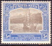 ST KITTS_NEVIS 1923 SG #53 3d MH Tercentenary Of Colony - St.Christopher-Nevis-Anguilla (...-1980)