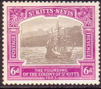 ST KITTS_NEVIS 1923 SG #54 6d MH Tercentenary Of Colony - St.Christopher-Nevis-Anguilla (...-1980)