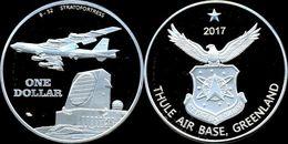 GREENLAND 2017 1 DOLLAROTHULE AIR BASE  FDC UNC FONDO SPECCHIO NON UFFICIALE - Coins