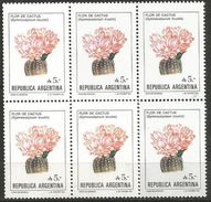 Argentina - 1987 Cactus Block Of 6 MNH **  Sc 1526 - Argentina