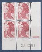 = Liberté De Gandon N°2179 Coin Daté 23.12.81 Neuf - 1980-1989