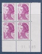= Liberté De Gandon N°2184 Coin Daté 21.1.83 Neuf - 1980-1989