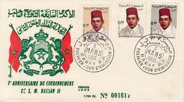 ENVELOPPE PREMIER JOUR - MAROC 1968 - 7e ANNIVERSAIRE DU COURONNEMENT DE S.M. HASSAN II - Maroc (1956-...)