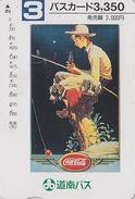 Carte Prépayée Japon - COCA COLA / POSTER PECHEUR - COKE Japan Fisher Fishing Prepaid Card  Bus Karte - 4152 - Japan