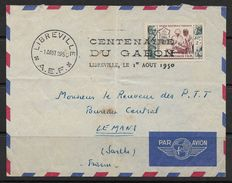 Gabon, Enveloppe Avec Jolie Oblitération, De Libreville 1 Aout 1550, ENVELOPE OF GABON 1950 - Gabon (1960-...)