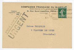 1938 - Yvert N°361 - Prix Courant Urgent Affr. 35c Semeuse Vert- Tarif 12.07.1937, Imprimé 20c + Taxe Urgent 15c - Postmark Collection (Covers)