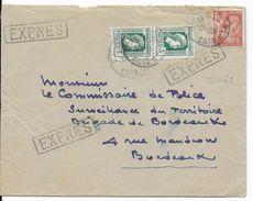 1945 - MARIANNE D'ALGER + IRIS Sur ENVELOPPE EXPRES De DIJON (COTE D'OR) => BORDEAUX - 1921-1960: Modern Tijdperk