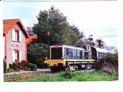 GARE DE St GEORGES DE LA RIVIERE (50) Train Et Locomotive RO65 Ex BB63069, Ligne Côte Des Isles, Cliché O. SOL 2004 - Gares - Avec Trains