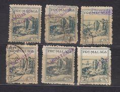 6 VIÑETAS PRO-MALAGA SOBRECARGA CANILLAS ACEITUNO(74)-CANILLAS ALBAIDA(75)-ALAMEDA(41)-2 CARRATRACA(77-147)-NERJA(117) - Vignettes De La Guerre Civile