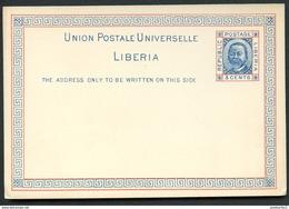LIBERIA Postal Card #2 President Johnson Mint Vf 1891 - Liberia