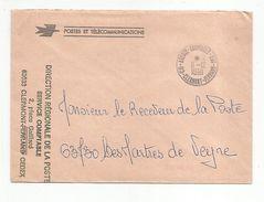 OBLITERATION MANUELLE SUR LETTRE DE SERVICE DE AGENCE COMPTABLE PRINCIPALE CLERMONT FERRAND 1991 - Marcophilie (Lettres)
