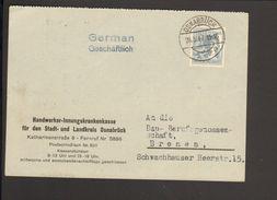 Alli.Bes.12 Pfg.Arbeiter Auf Postkarte Von 1947 Aus Osnabrück Abs. Handwerker-Innungskrankenkasse - American,British And Russian Zone