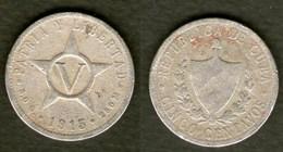 Cuba Kuba Moneta 5 Cent Pesos 1915 Rara - Cuba
