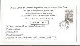 OBLITERATION MANUELLE SUR AVIS DE BEAUMONT MASAGE PUY DE DOME 1991 - 1961-....