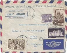PA 100FR+50FR+20FR+5FR GANDON LETTRE AVION EU 1953 POUR SAIGON SUD VIETNAM - Postmark Collection (Covers)