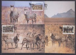 Namibia 1991 Zebra 4v 4 Maxicards (36887) - Namibië (1990- ...)