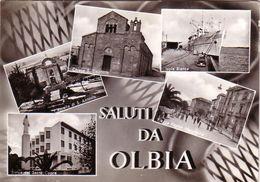 OLBIA-SALUTI DA OLBIA-MULTIVEDUTE (5 IMMAGINI) -CARTOLINA VERA FOTOGRAFIA-VIAGGIATA IL 26-08-1962 - Olbia